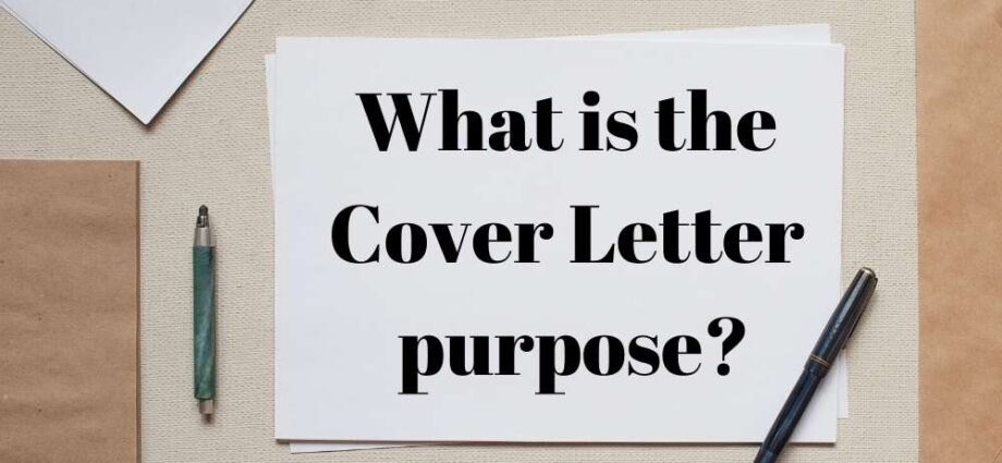 Purpose of a Cover Letter